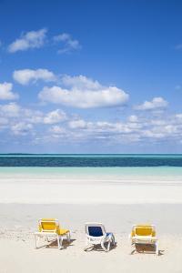 Cuba, Jardines del Rey, Cayo Guillermo, Sunloungers on Playa El Paso by Jane Sweeney