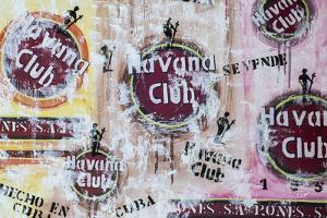 Cuba, Trinidad, Havana Club Painted on Wall of Bar in Historical Center by Jane Sweeney