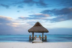 Dominican Republic, Punta Cana, Playa Blanca, Wooden Pier with Thatched Hut by Jane Sweeney