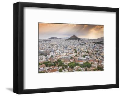 Greece, Attica, Athens, View of Central Athens - Plaka Towards Lykavittos Hill