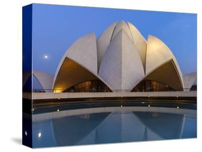 India, Delhi, New Delhi, Full Moon Over the Bahai House of Worship Know As the The Lotus Temple