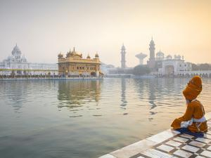 India, Punjab, Amritsar, Pilgrims at the Harmandir Sahib,  Nown As the Golden Temple by Jane Sweeney