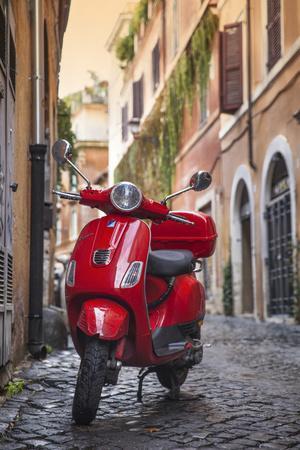 Italy, Lazio, Rome, Trastevere, Red Vespa