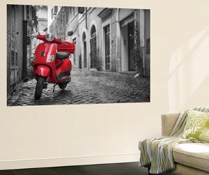 Italy, Lazio, Rome, Trastevere, Red Vespa by Jane Sweeney