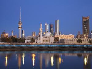 Kuwait, Kuwait City, City Skyline Reflecting in  Harbour by Jane Sweeney