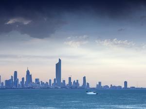 Kuwait, Kuwait City, Salmiya, Arabian Gulf and City Skyline Looking Towards Al Hamra Tower by Jane Sweeney