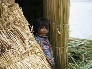 Little Boy, Uros Floating Reed Island, Lake Titicaca, Peru, South America by Jane Sweeney