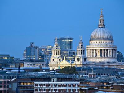 London, City Skyline Looking Towards St Paul's Cathedral at Twilight, England by Jane Sweeney
