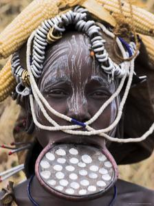 Mursi Lady with Lip Plate, South Omo Valley, Ethiopia, Africa by Jane Sweeney