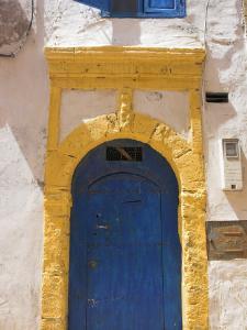 North Africa, Morocco, Essaouira, Medina, Blue and Yellow Door by Jane Sweeney