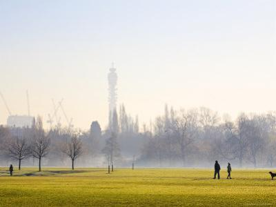 People in Regents Park on Frosty Morning with Bt Tower in Background by Jane Sweeney