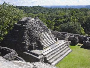 Plaza B Temple, Mayan Ruins, Caracol, Belize, Central America by Jane Sweeney