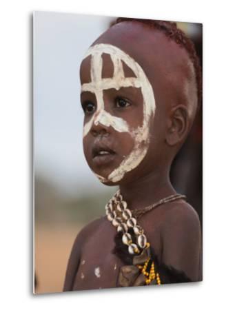 Portrait of a Hamer (Hamar) Child at Evangadi Dancing (Night Dance), Dombo Village, Turmi, Ethiopia
