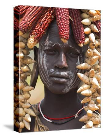 Portrait of a Mursi Lady, South Omo Valley, Ethiopia, Africa