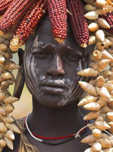 Portrait of a Mursi Lady, South Omo Valley, Ethiopia, Africa by Jane Sweeney