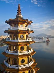 Taiwan, Kaohsiung, Lotus Pond, Dragon and Tiger Tower Temple with Bridge Leading to Spring and Autu by Jane Sweeney