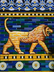 Tiled Mosaic of Lion of Babylon Near Ishtar Gate, Babylon, Babil, Iraq by Jane Sweeney