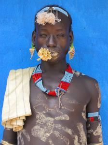 Tsemay Man with Flower in Mouth at Weekly Market, Key Afir, Lower Omo Valley, Ethiopia, Africa by Jane Sweeney