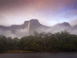 Venezuela, Guayana, Canaima National Park, Mist Swirls Round Angel Falls at Sunrise by Jane Sweeney