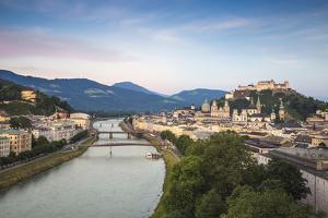 View of Salzach River and Hohensalzburg Castle above The Old City, Salzburg, Austria, Europe by Jane Sweeney
