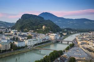 View of Salzach River with The Old City to the right and the New City to the left, Salzburg, Austri by Jane Sweeney