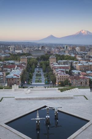 View of Yerevan and Mount Ararat from Cascade, Yerevan, Armenia, Central Asia, Asia by Jane Sweeney