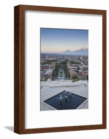 View of Yerevan and Mount Ararat from Cascade, Yerevan, Armenia, Central Asia, Asia