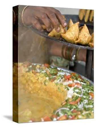 Woman Arranging Freshly Cooked Samosas, Market, Darjeeling, West Bengal, India
