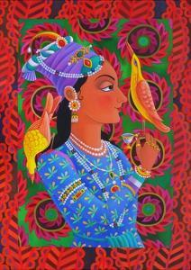 Maharani with Two Birds, 2012 by Jane Tattersfield
