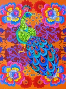 Peacock with Flowers, 2015 by Jane Tattersfield