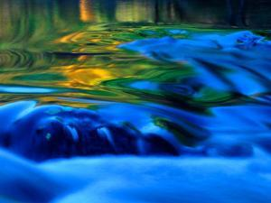 Reflections in Fall, Canton Creek near North Umpquah, Oregon, USA by Janell Davidson