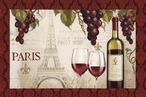 Wine in Paris I Damask Border by Janelle Penner