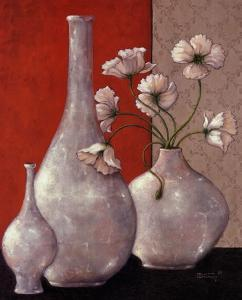 Silverleaf And Poppies I by Janet Kruskamp