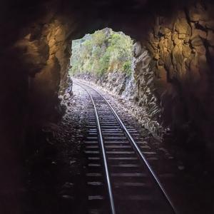 Cusco Region, Peru. Machu Pichu-Cusco Railway. A shot from a train exiting a tunnel by Janet Muir
