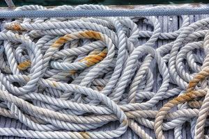 Tortola, British Virgin Islands. Detail of Nautical Rope Wit Rust by Janet Muir