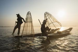 Fishermen, Inle Lake, Shan State, Myanmar (Burma), Asia by Janette Hill