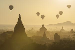 Hot air balloons above the temples of Bagan (Pagan), Myanmar (Burma), Asia by Janette Hill