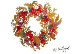 Christmas Wreath with Berries by Janice Gaynor