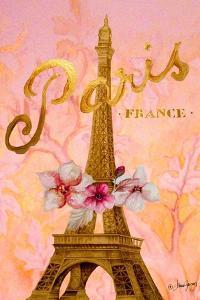 Gold Paris Eiffel Panel by Janice Gaynor