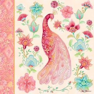 Pink Medallion Peacock I by Janice Gaynor