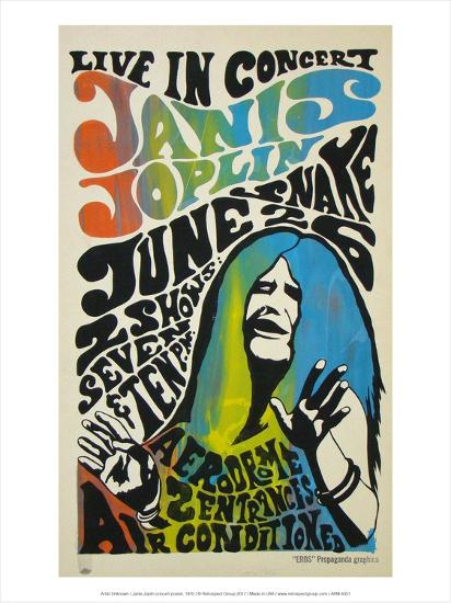 Janis Joplin concert poster, 1970-Unknown-Art Print