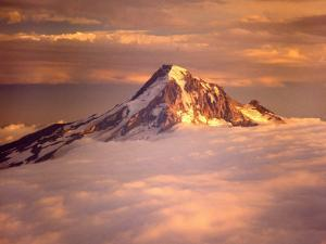 Aerial of Mt. Hood, Oregon Cascades, USA by Janis Miglavs