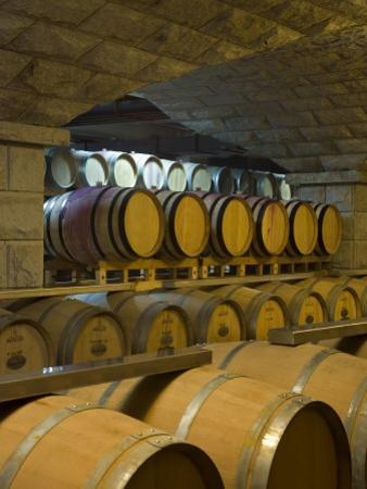 Barrels in Cellar at Chateau Changyu-Castel, Shandong Province, China by Janis Miglavs