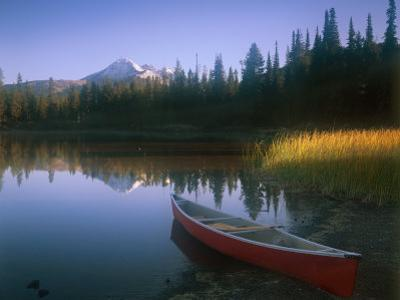 Beached Red Canoe, Sparks Lake, Central Oregon Cascades