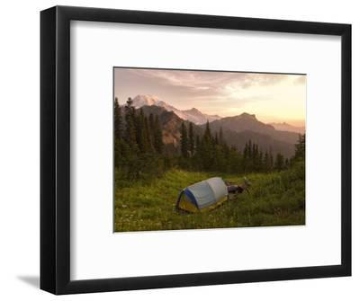 Blue backpacking tent in the Tatoosh Wilderness, Washington State, USA