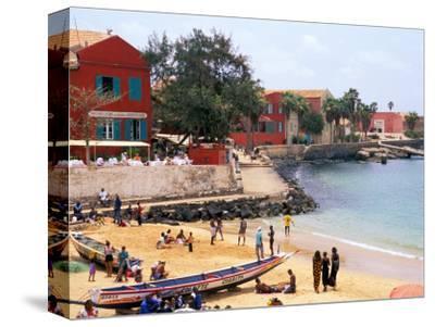 Boats and Beachgoers on the Beaches of Dakar, Senegal