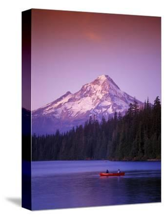 Boys in Canoe on Lost Lake with Mt Hood in the Distance, Mt Hood National Forest, Oregon, USA