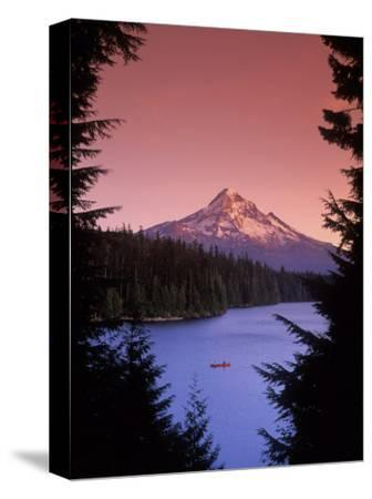 Canoeing on Lost Lake in the Mt Hood National Forest, Oregon, USA
