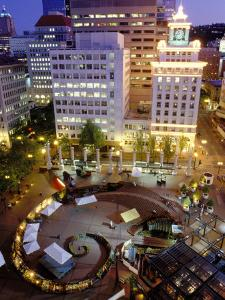 City Lights from Above Pioneer Courthouse Square in Downtown Portland, Oregon, USA by Janis Miglavs