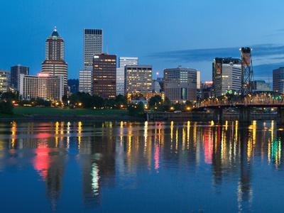 City Lights Glowing at Night, Portland, Oregon, USA